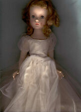 "MADAME ALEXANDER 15"" HARD PLASTIC WALKER ANTIQUE DOLL, TAGGED DRESS"