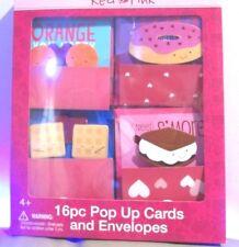 New - Red & Pink 16 Pop Up Cards + Envelopes ( ages 4+ )