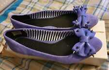 DIESEL Ladies Purple Suede Spike Bow Ballerinas Size UK 6 Eur 39