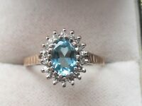 7m Ladies 9ct gold 1 carat Blue Topaz solitaire and Diamond Cluster ring size O