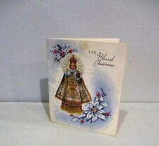 Vtg Christmas Card Catholic Religous Infant of Prague 40's 50's