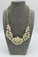 Vintage Teardrop Faceted Rhinestone Statement Double Chain Necklace Gold Tone