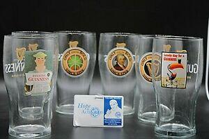 Lot of 6 Guinness Pint Beer Glasses Various Designs w/ Harp Established 1759