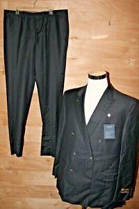 Daniel Cremieux Dress Suit Signature Black Pinstripe Piana Super 130's 46R 40W