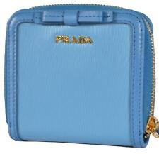 487a9cb3f86a59 New Prada 1ML522 Mare Vitello Leather Small Bowtie Bifold Wallet W/Zip Coin