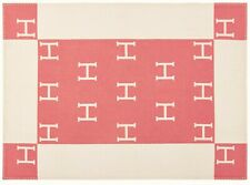 HERMÉS AVALON BABY WOOL CASHMERE THROW BLANKET PINK & WHITE BRAND NEW WITH TAGS