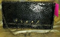 AUTHENTIC BETSEY JOHNSON LARGE LEOPARD PRINT BLACK & GOLD CLUTCH HANDBAG TOTE