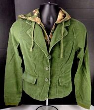 BB'S CLOSET WOMEN JACKET W/HOOD CORDUROY OLIVE GREEN CAMOUFLAGE SIZE M