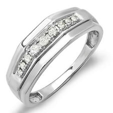 Sterling Silver White Diamond Mens Wedding Anniversary Band 1/4 CT (Size 9)