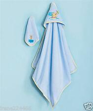 "Baby Embroidered Ark Hooded Bath Towel Wrap 30"" & Washcloth 9"" Set Blue NIP"