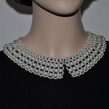 Perlen Collier Kragen Kette Halskette Perlencollier Perlenkragen Perlenkette