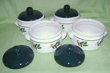 Soup Chili Bowls Covered Set of 4 Onion Bean Pots Holly Berry Christmas White