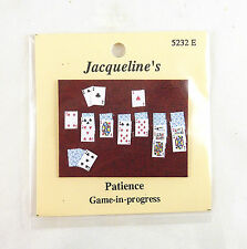 Dollhouse Miniature Solitaire Patience Card Game in Progress