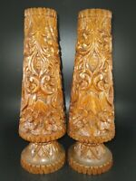 🌈Set of 2 Vintage Tall Hand Turned Carved Wooden Candlesticks Candle Holders EC