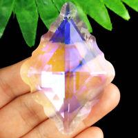 Faceted White Multicolor Titanium crystal Agate Diamond Pendant Bead NN1615