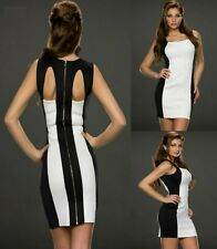 Sz 8 10 Sleeveless White Black Bodycon Club Prom Cocktail Party Sexy Mini Dress