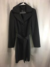 Guess Pea Coat Jacket Womens Medium Gray Wool Bend Belted Button Down