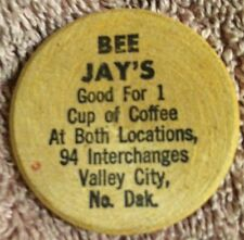 Bee Jay's Restaurant 10cent Coffee Token 94 Interchange & Valley City N.Dakota