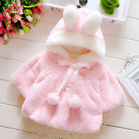 Toddler Kids Hooded Bunny Rabbit Ear Coat Jacket Winter Warm Fur Clothes Outwear