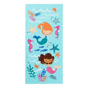 "Mainstay MERMAID Fish Starfish 100% Cotton Beach Sea Pool Towel 28x60"" Quick Dry"