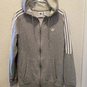 ADIDAS ORIGINALS MEN'S RADKIN FULL ZIP HOODIE GREY TREFOIL COMFY WARM