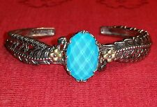 BARBARA BIXBY 18K 925 TURQUOISE DOUBLET FEATHER CUFF BRACELET STERLING GOLD QVC
