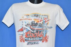 vtg 80s CECIL FLORENCE COORS LIGHT SPECIAL DRAG BOAT RACING TURN LOOSE t-shirt S