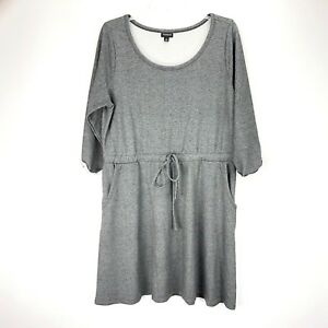 Torrid Athletic Dress 1 Womens Heather Gray 3/4 Scoop Neck Draw String Pockets