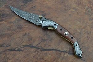Custom Handmade Damascus Steel Pocket Knife with colored bone handle