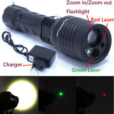 3 in 1 Flashlight Red Green Laser Pointer Light Tactical Hunting Adjustable Flas