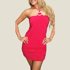 Stunning Halter Neck Cocktail Clubwear Mini Dress with Diamonte Ring co9623