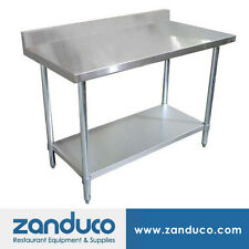 "Zanduco 30"" X 60"" Stainless Steel Standard Worktable with 4-inch Backsplash Nsf"
