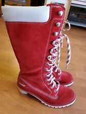 Lugz Calf High Boots Red Suede Women Size 7  EU 37.5 Lace Up