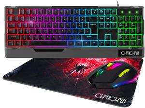 Jugeo De Teclado Y Mouse Gamer Mecanico Para Gaming Multicolor LED Raton RGB