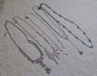 VINTAGE TO NOW ASSORTED RHINESTONE SILVER TONE CHAIN PENDANT NECKLACE LOT