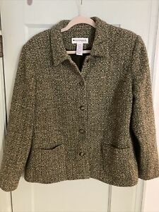 Appleseeds Long Sleeve Lime Green Button Down Coat Jacket Womens Size Large