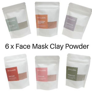 Natural Clay Face Mask Powder Kaolin Pink  Red Green Rhassoul White Dead Sea 80g