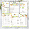 BABY SHOWER GAMES Jungle Leaf Unisex Prediction Cards Who Knows Mummy Advice Car