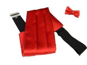 Fascia da smoking uomo rossa raso lucido elegante con e senza papillon