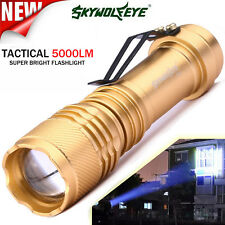 5000LM CREE Q5 AA/14500 3 Modes Strap Zoomable LED Tactical Flashlight Torch New