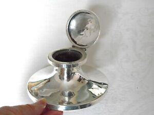Antique Hallmarked Silver Capstan Desktop Inkwell