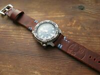 Handmade 'Worn' Brown / Blue Thick Embossed 'Rough' Leather Watchstrap 20mm