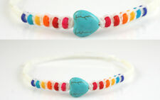 Rainbow Turquoise Love Heart Anklet Boho Gypsy Ankle Bracelet Girls Womens