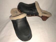 UGG Australia #5491 Kalie Women's Size 7 Black Leather Sheepskin Slip On Clog