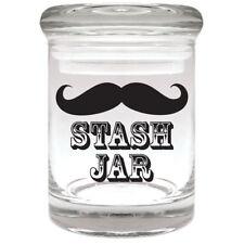 MOUSTACHE Airtight Smell Proof Spice Herb Storage GLASS STASH JAR 1/8 oz
