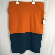 NEW LulaRoe Cassie Solid Orange & Blue Colorblock Stretchy Pencil Skirt Large