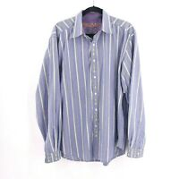Robert Graham Men's Flip Cuff Size XL Long Sleeve Shirt Striped Blue Floral