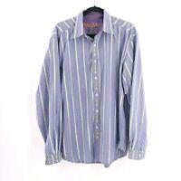 Robert Graham Men's Size XL Long Sleeve Shirt Striped Flip Cuff Blue Floral