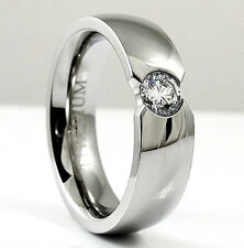 Highly Polished TITANIUM Fashion RING with 5mm CZ in Flush Setting - size 13