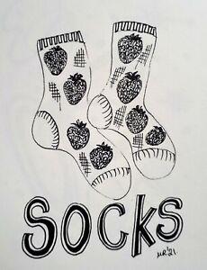 DAILY SKETCH:Original Ink Drawing 'Strawberry Socks' Michelle Ranson